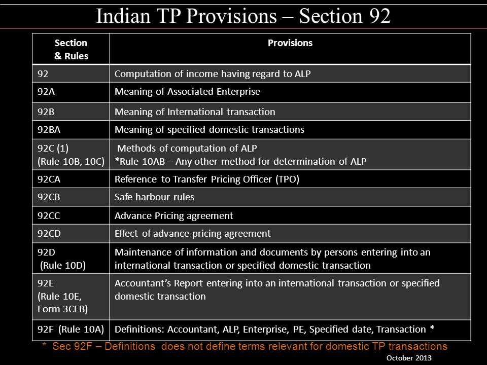 Indian TP Provisions – Section 92