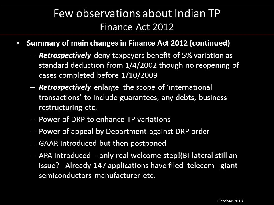Few observations about Indian TP Finance Act 2012
