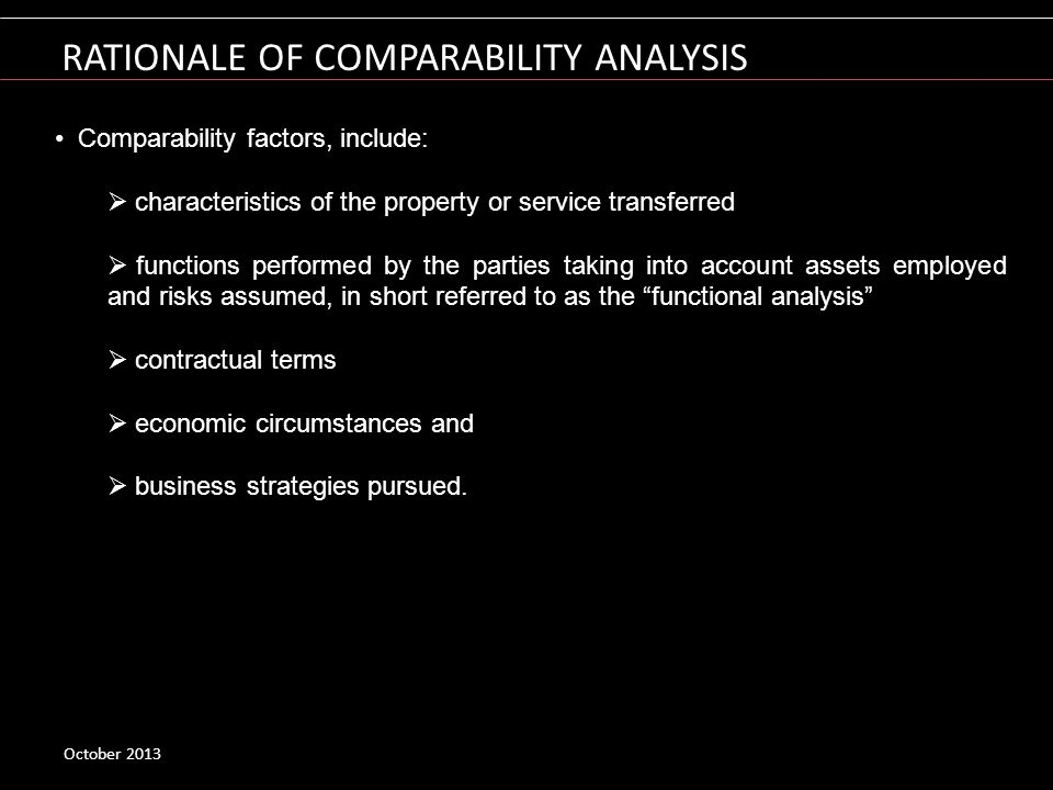 RATIONALE OF COMPARABILITY ANALYSIS
