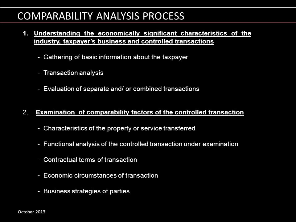 COMPARABILITY ANALYSIS PROCESS