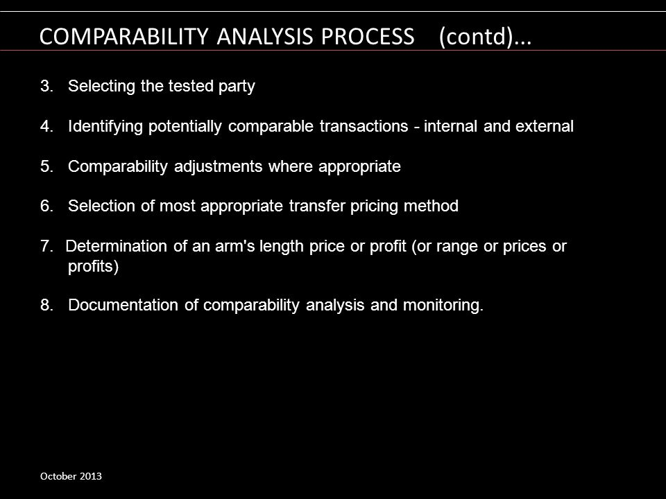 COMPARABILITY ANALYSIS PROCESS (contd)...