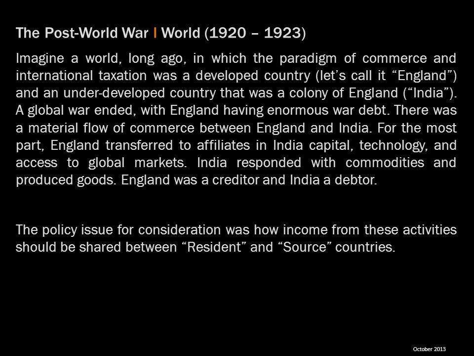 The Post-World War I World (1920 – 1923)