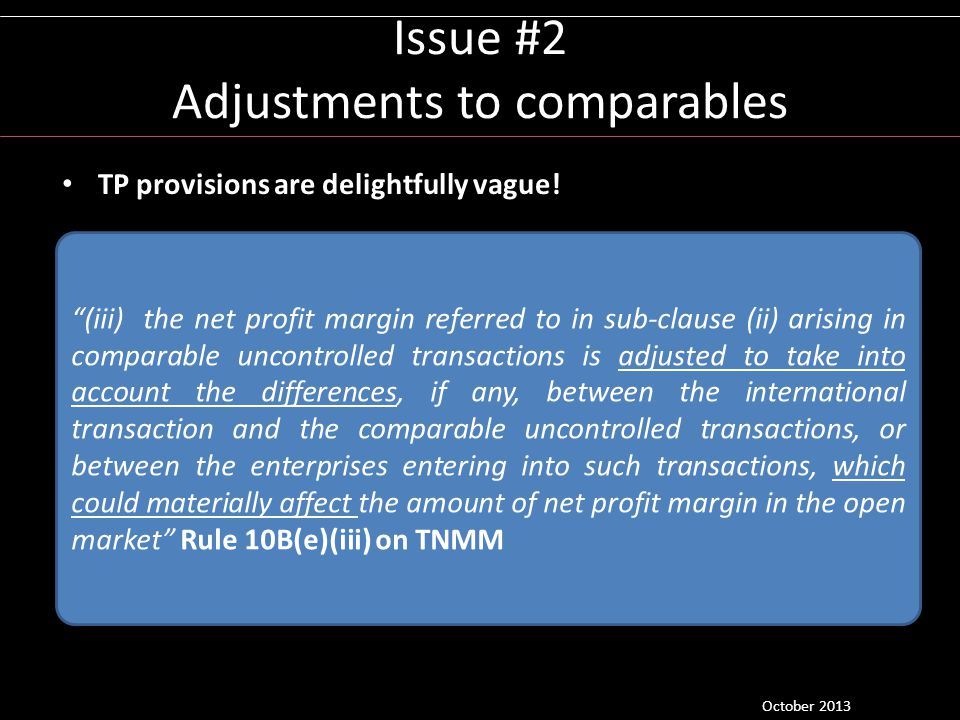 Issue #2 Adjustments to comparables