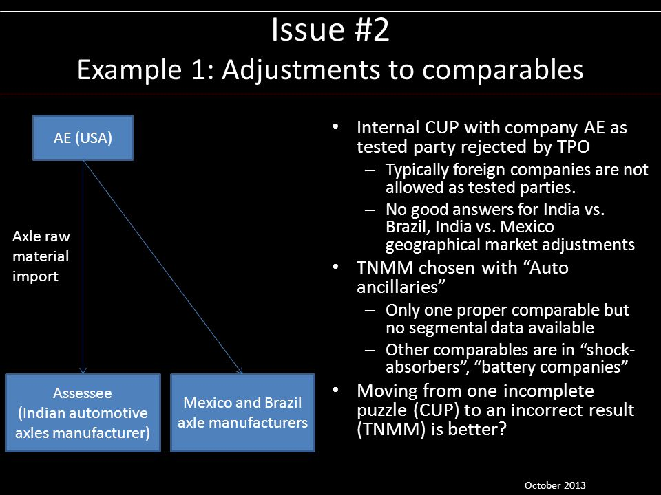 Issue #2 Example 1: Adjustments to comparables