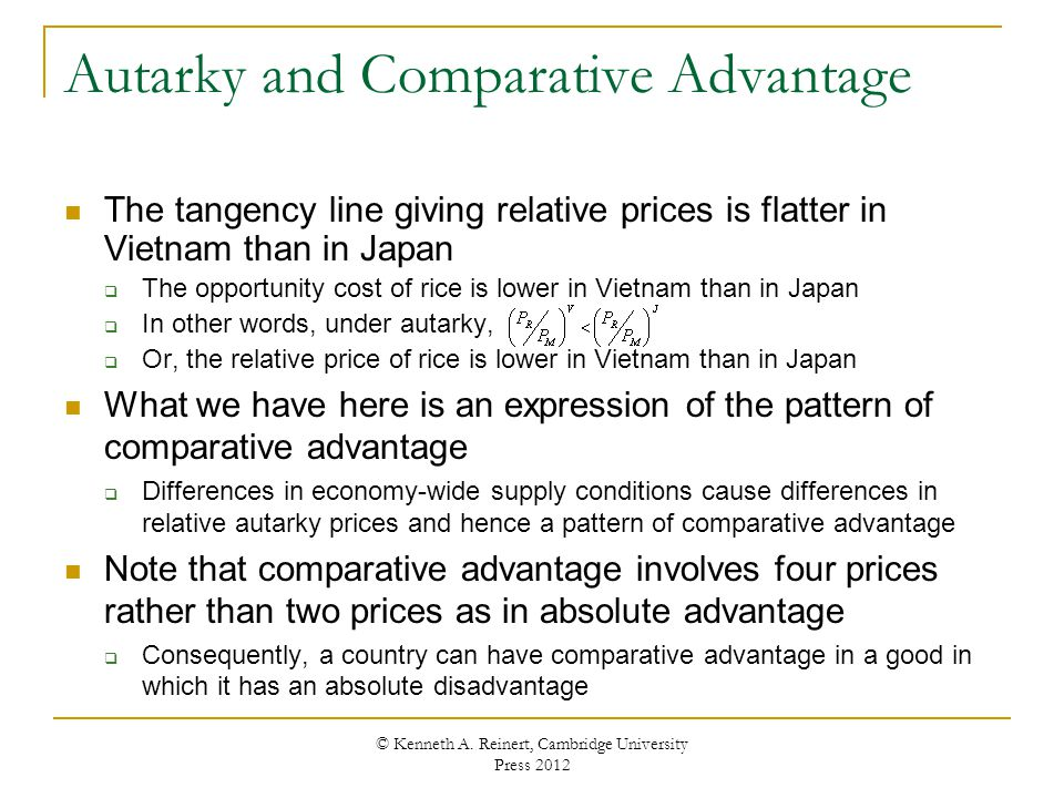 Autarky and Comparative Advantage