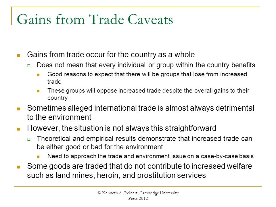 Gains from Trade Caveats