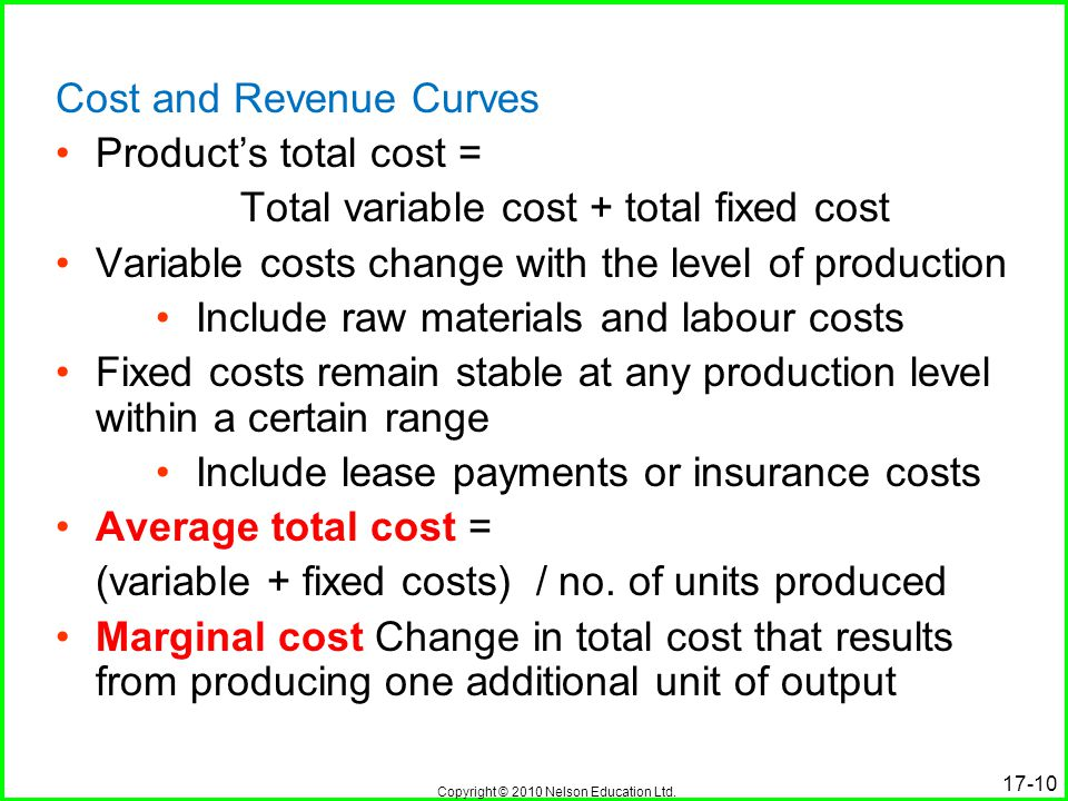 Total variable cost + total fixed cost