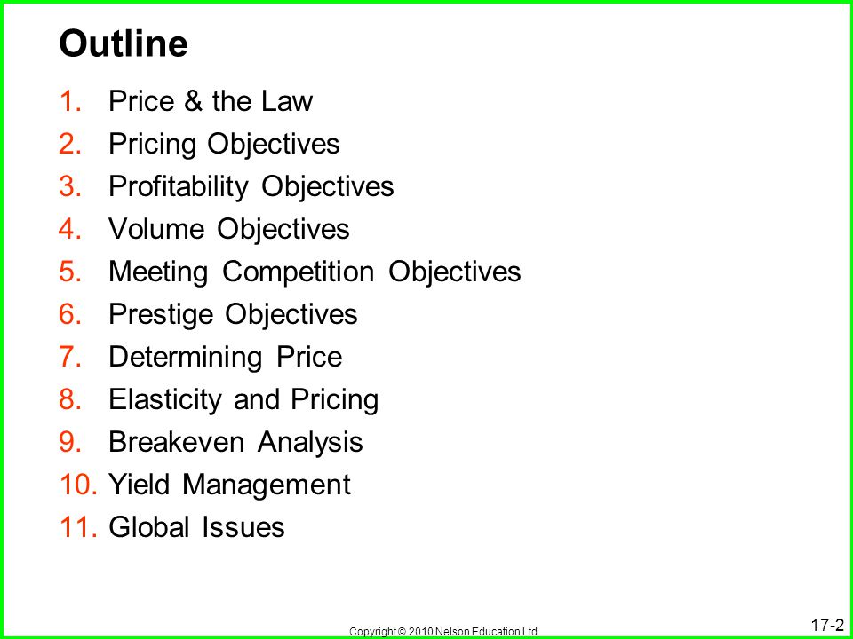 Outline Price & the Law Pricing Objectives Profitability Objectives