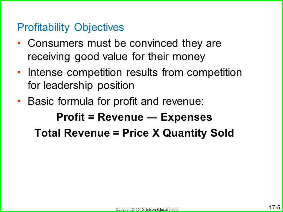 Profit = Revenue ― Expenses Total Revenue = Price X Quantity Sold