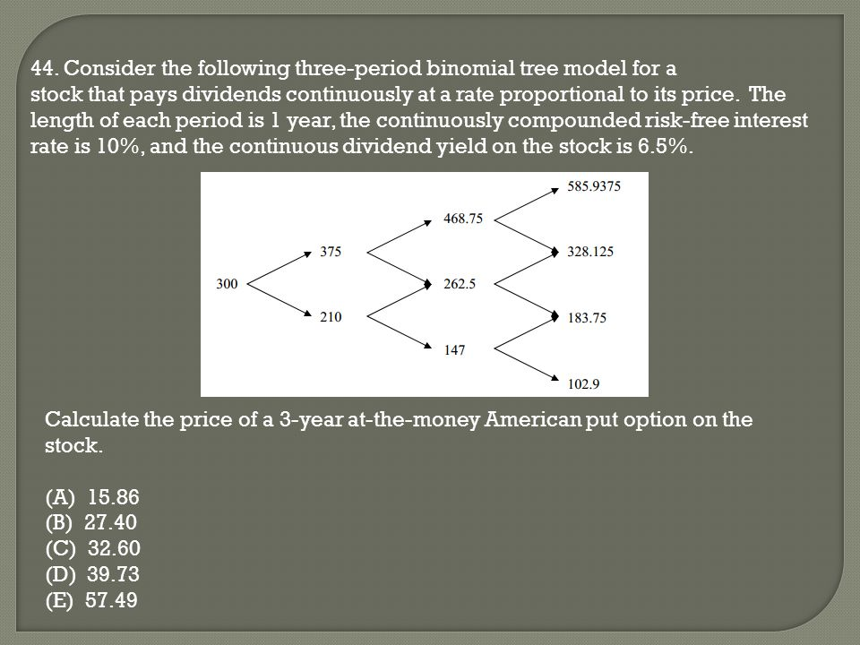 44. Consider the following three-period binomial tree model for a