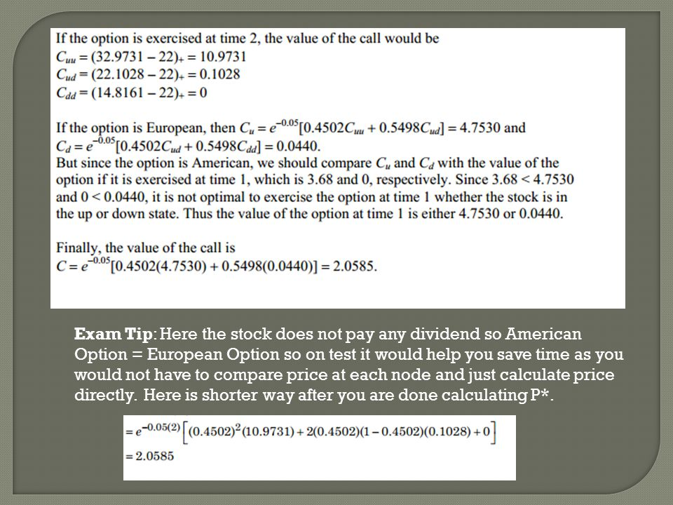 Exam Tip: Here the stock does not pay any dividend so American Option = European Option so on test it would help you save time as you would not have to compare price at each node and just calculate price directly.