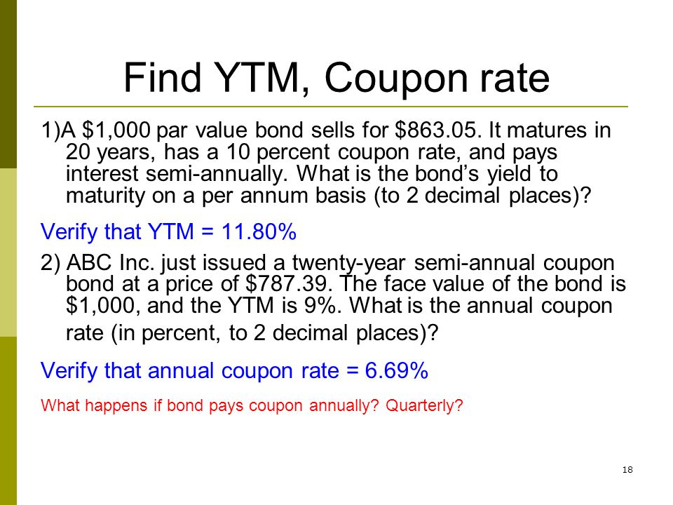 Find YTM, Coupon rate