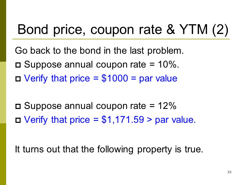 Bond price, coupon rate & YTM (2)