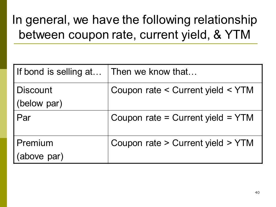 In general, we have the following relationship between coupon rate, current yield, & YTM