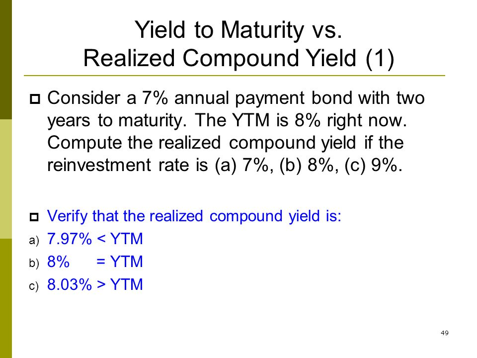 Yield to Maturity vs. Realized Compound Yield (1)