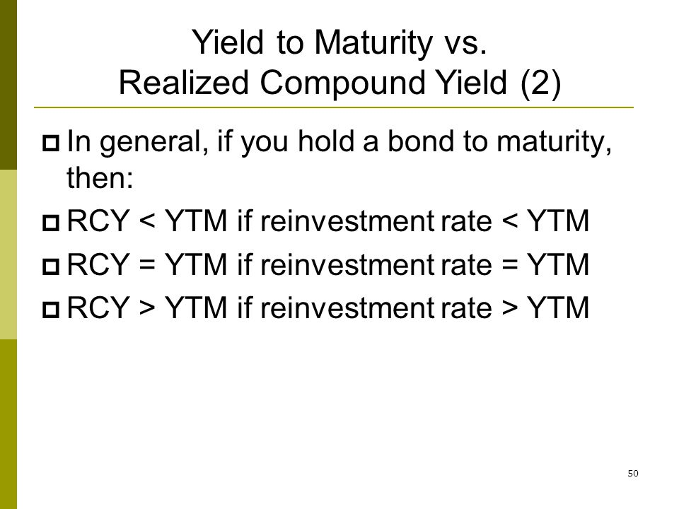 Yield to Maturity vs. Realized Compound Yield (2)