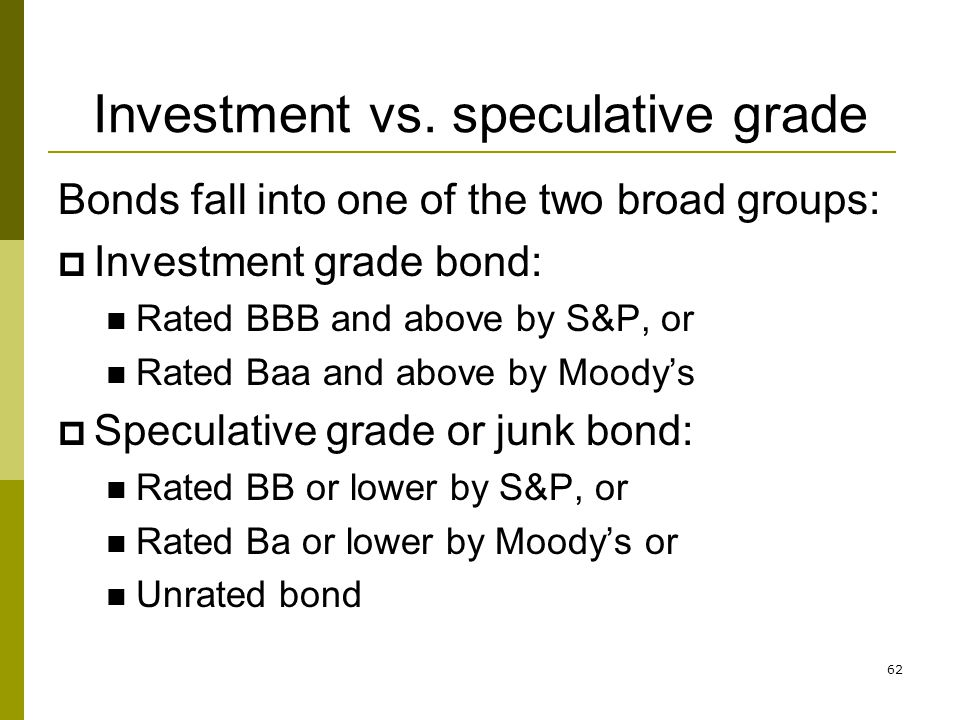 Investment vs. speculative grade