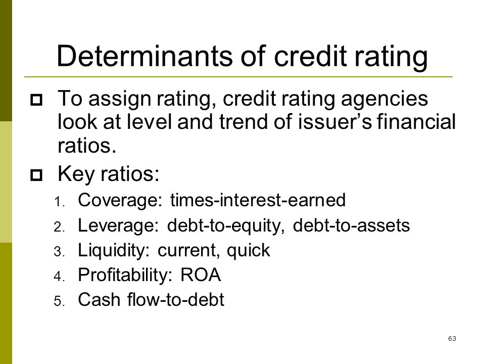 Determinants of credit rating