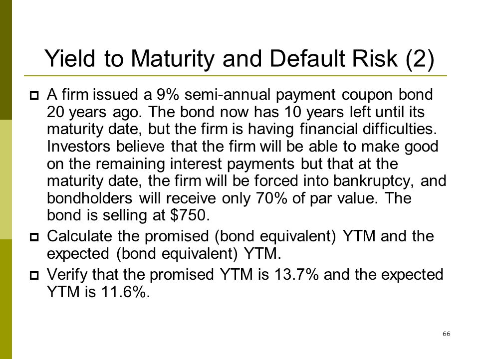 Yield to Maturity and Default Risk (2)