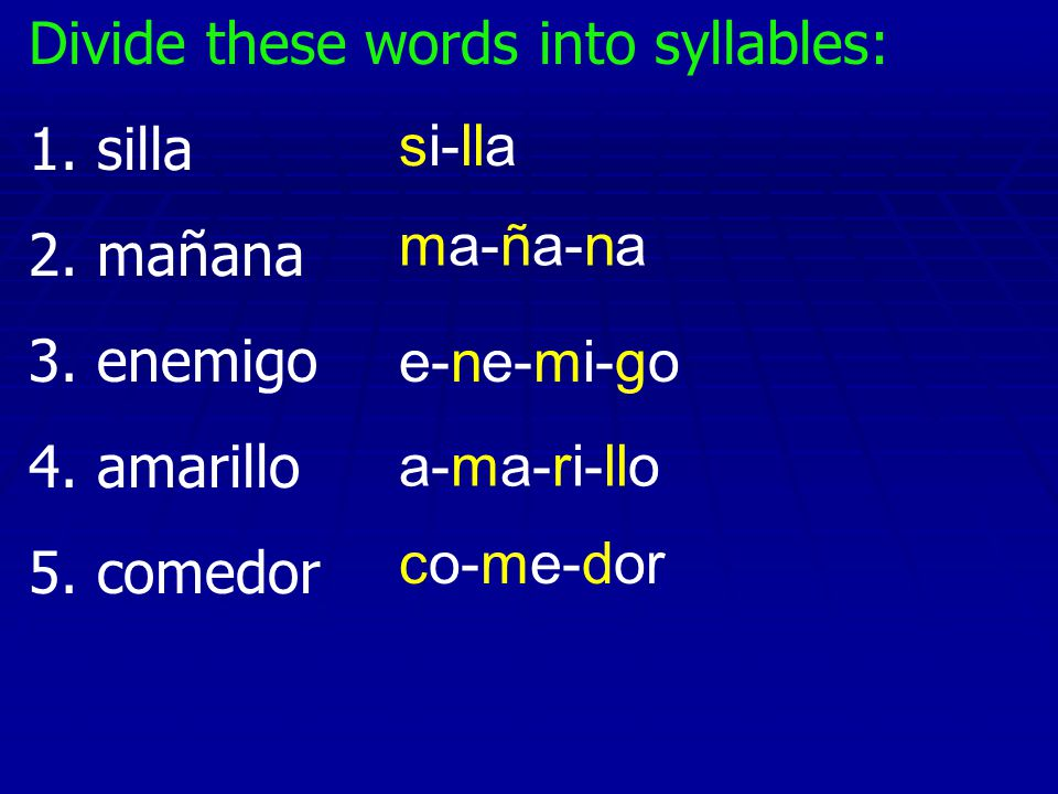 Divide these words into syllables: