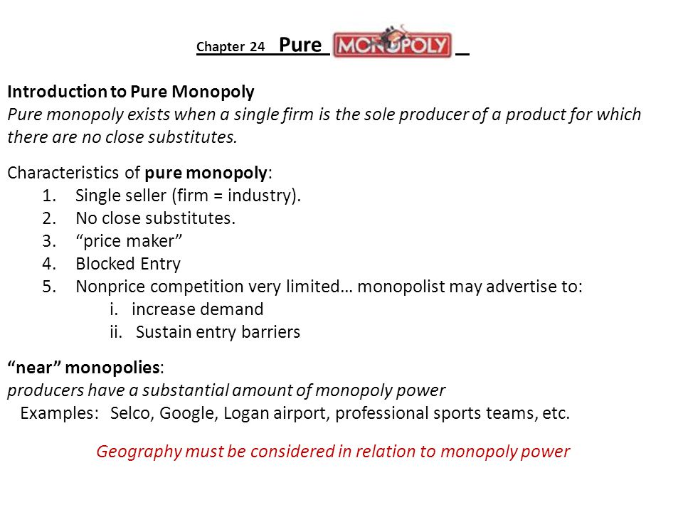Geography must be considered in relation to monopoly power