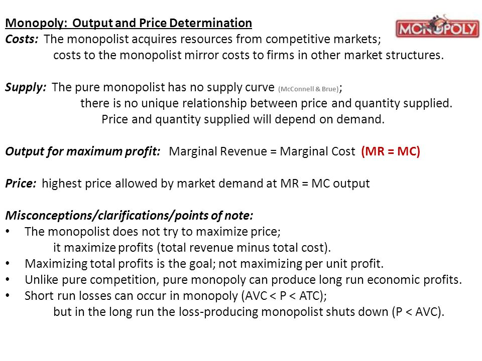 Monopoly: Output and Price Determination