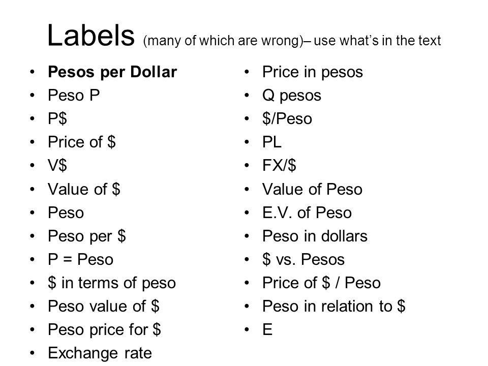 Labels (many of which are wrong)– use what's in the text