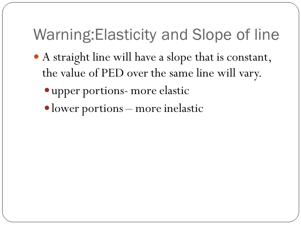 Warning:Elasticity and Slope of line