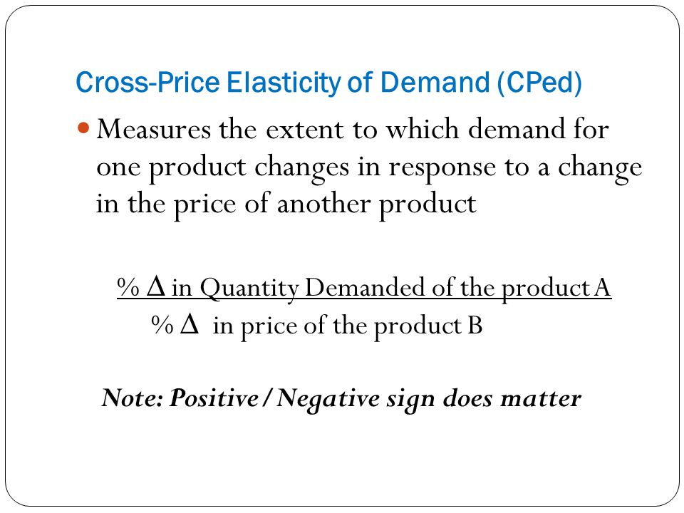Cross-Price Elasticity of Demand (CPed)