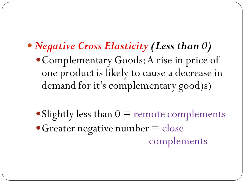 Negative Cross Elasticity (Less than 0)
