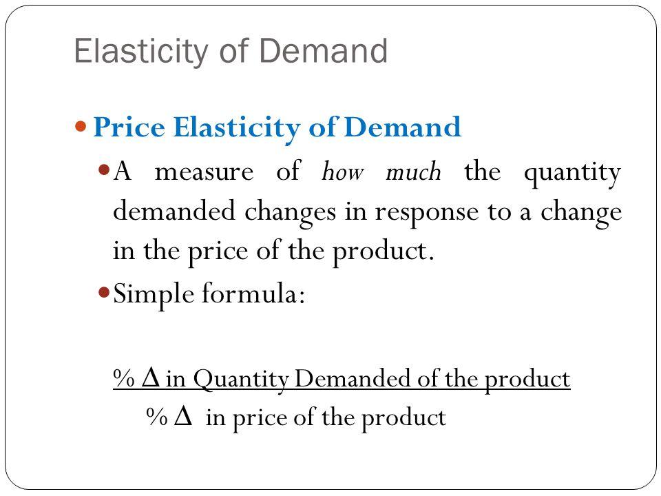 Elasticity of Demand Price Elasticity of Demand