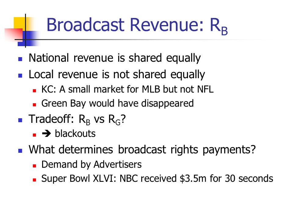Broadcast Revenue: RB National revenue is shared equally