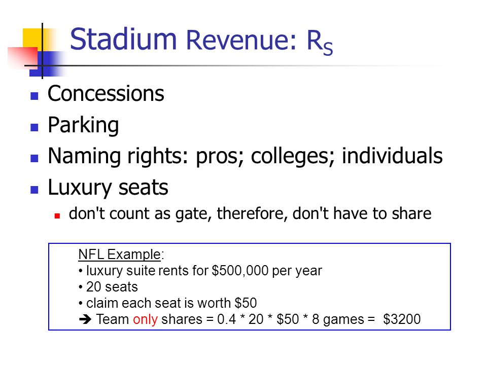 Stadium Revenue: RS Concessions Parking
