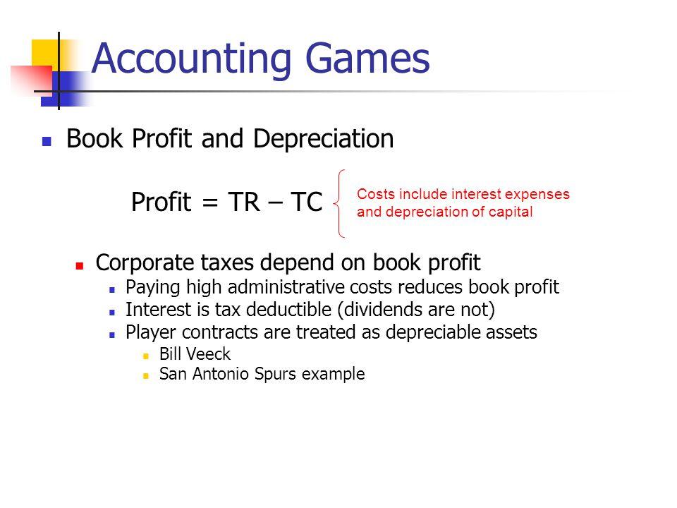 Accounting Games Book Profit and Depreciation Profit = TR – TC