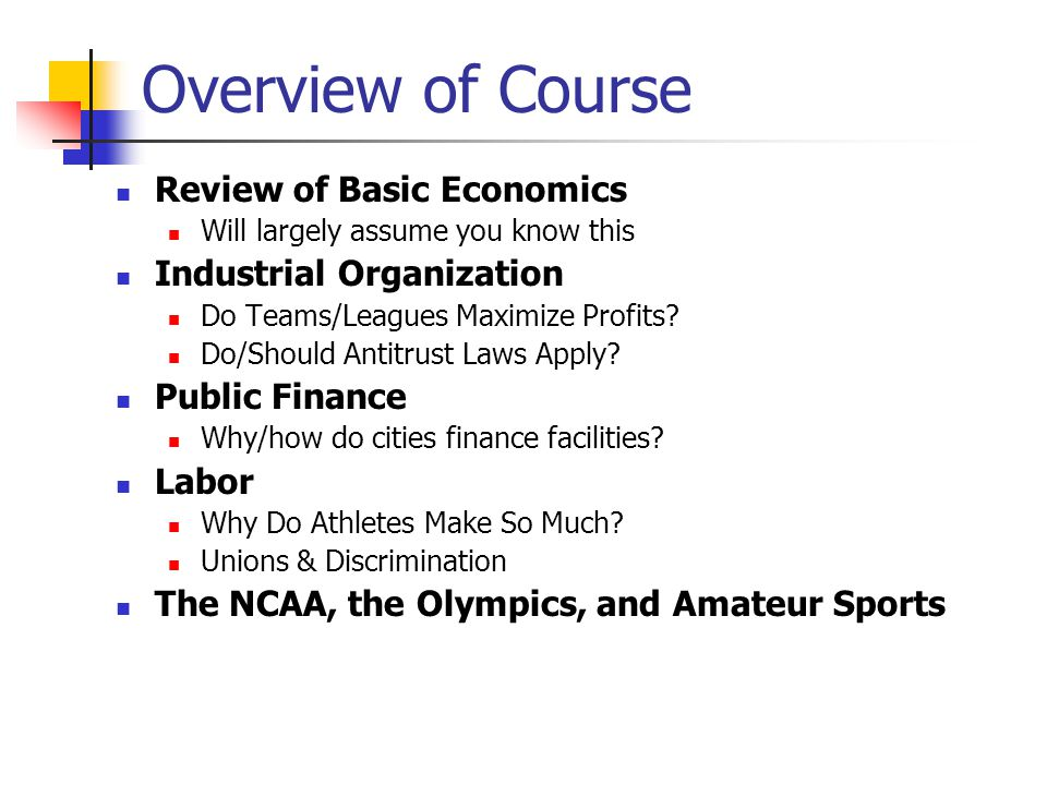 Overview of Course Review of Basic Economics Industrial Organization