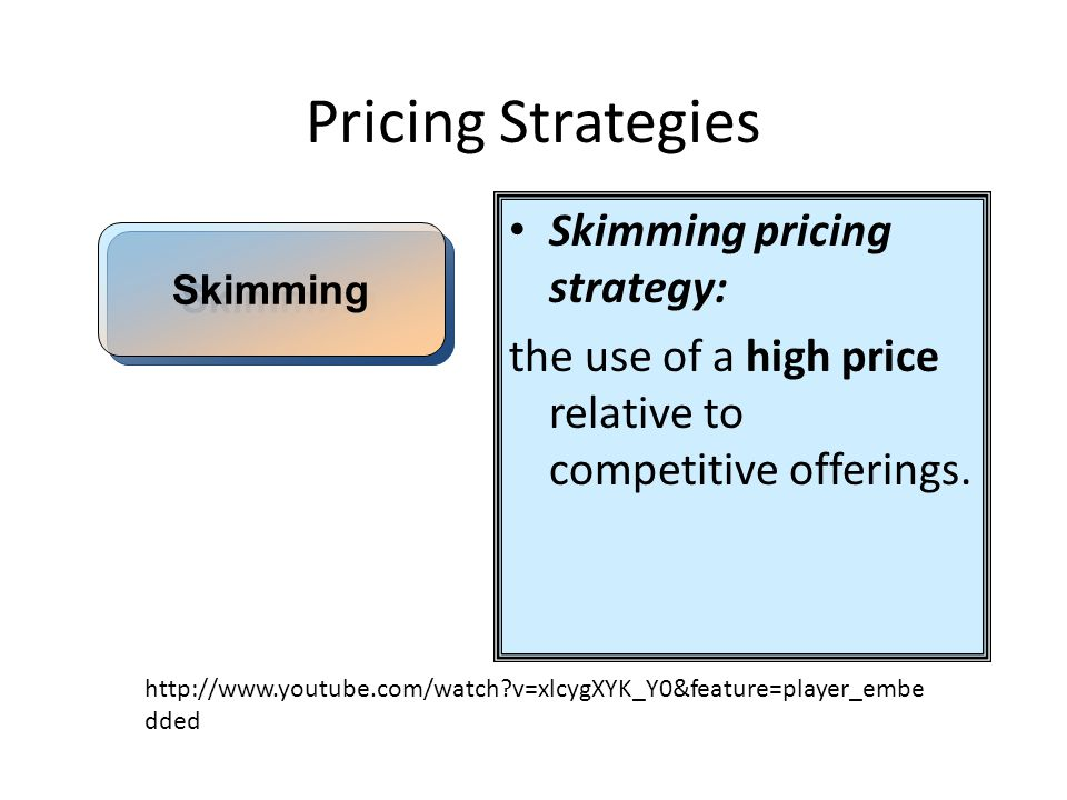 Pricing Strategies Skimming pricing strategy: