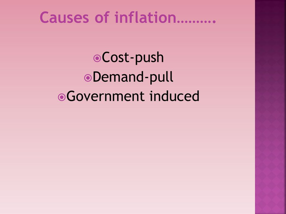 Causes of inflation……….