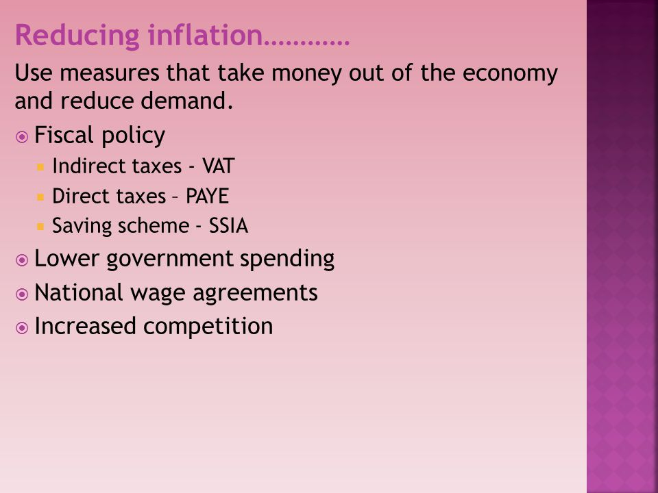 Reducing inflation…………