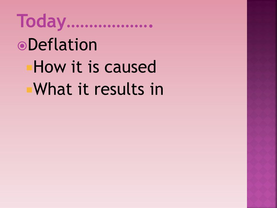 Today………………. Deflation How it is caused What it results in