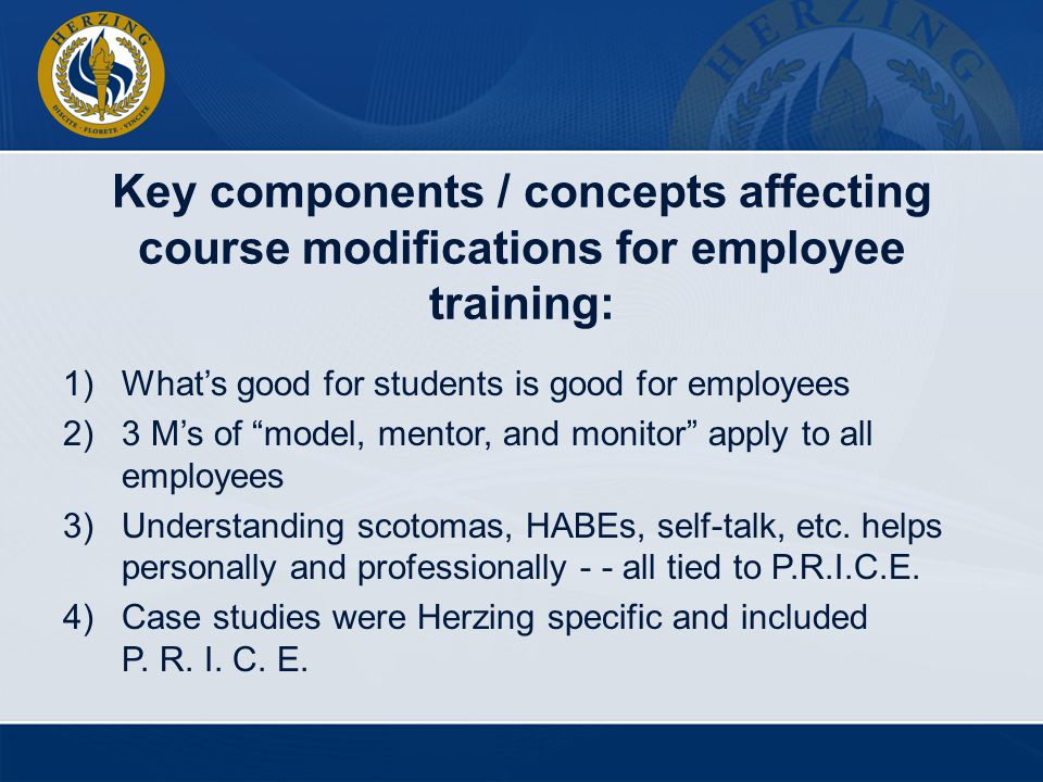 Key components / concepts affecting course modifications for employee training: