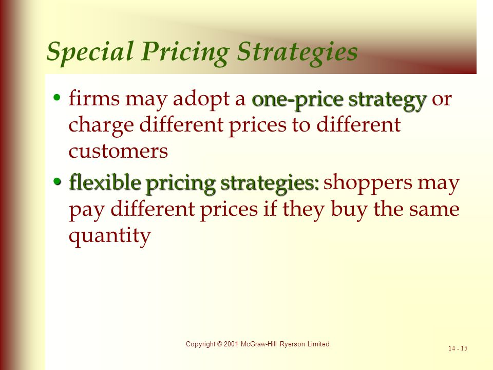 Special Pricing Strategies