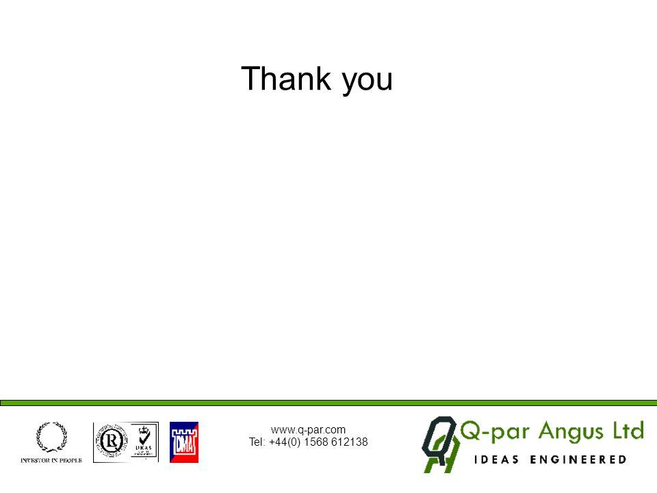 Thank you www.q-par.com Tel: +44(0) 1568 612138