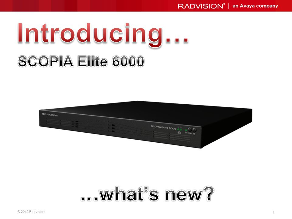 Introducing… SCOPIA Elite 6000 Save BW 3 working points: …what's new