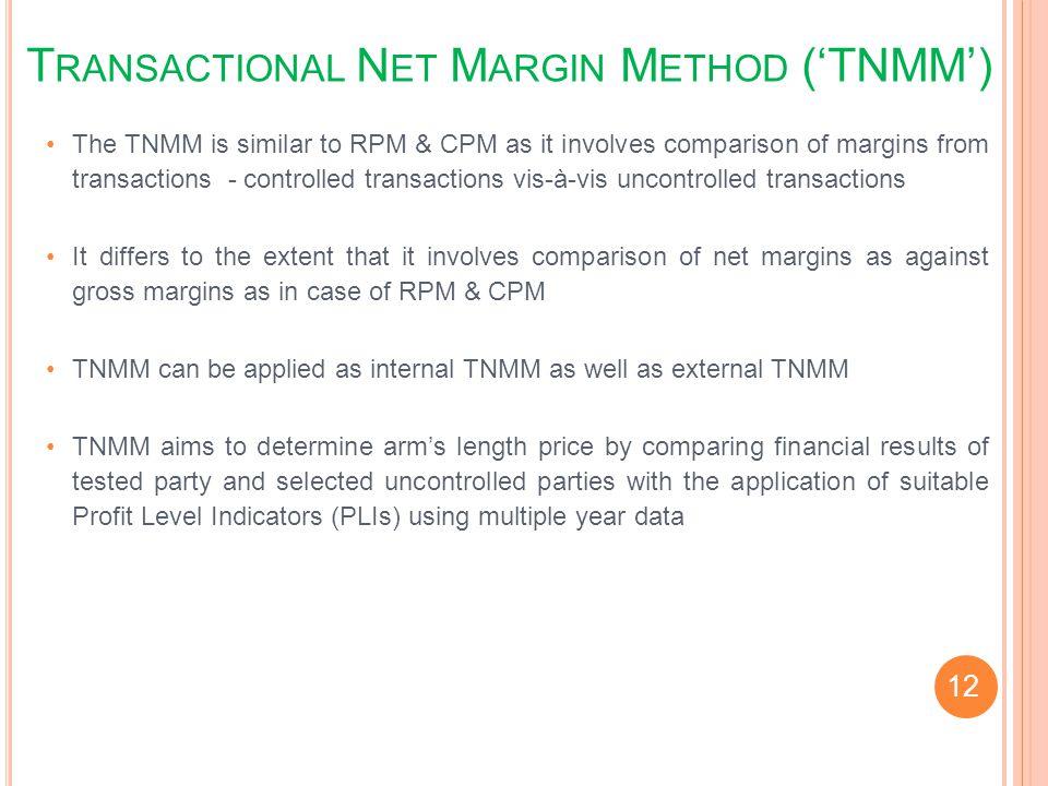 Transactional Net Margin Method ('TNMM')