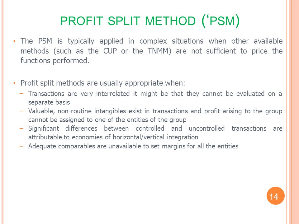 profit split method ('psm)