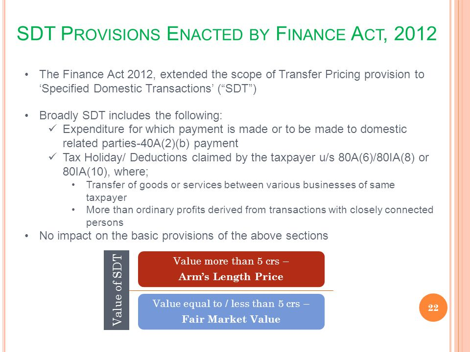 SDT Provisions Enacted by Finance Act, 2012
