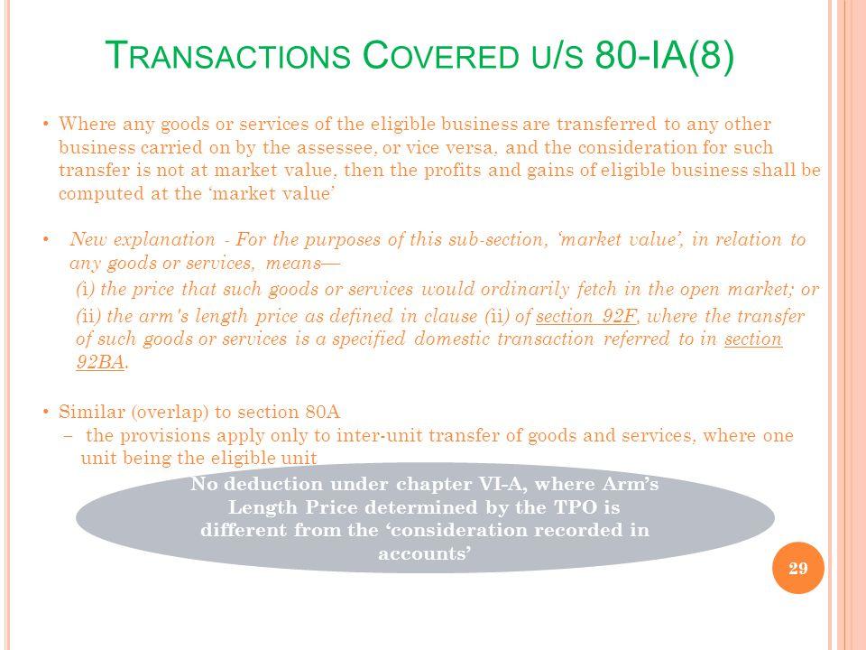 Transactions Covered u/s 80-IA(8)