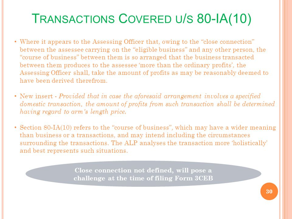 Transactions Covered u/s 80-IA(10)