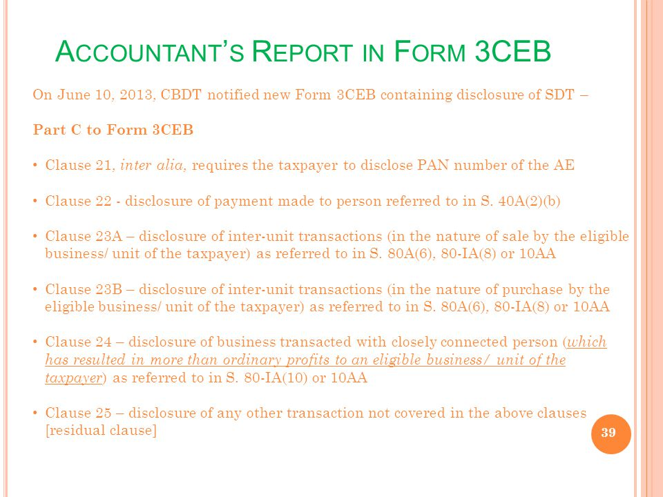 Accountant's Report in Form 3CEB