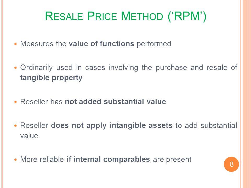 Resale Price Method ('RPM')